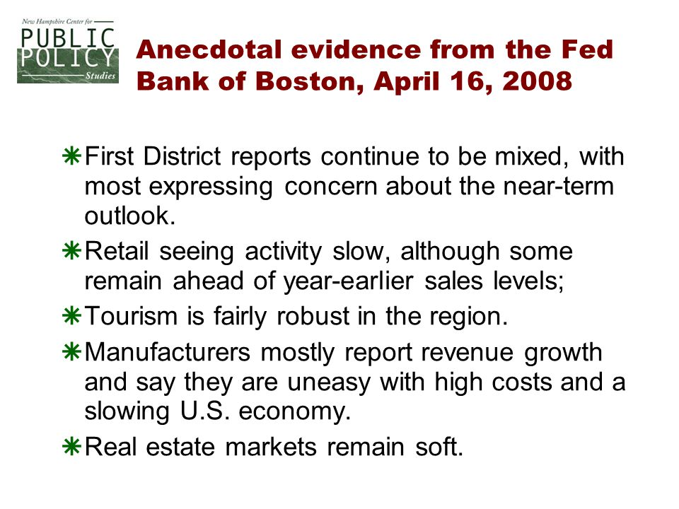 Anecdotal evidence from the Fed Bank of Boston, April 16, 2008  First District reports continue to be mixed, with most expressing concern about the near-term outlook.