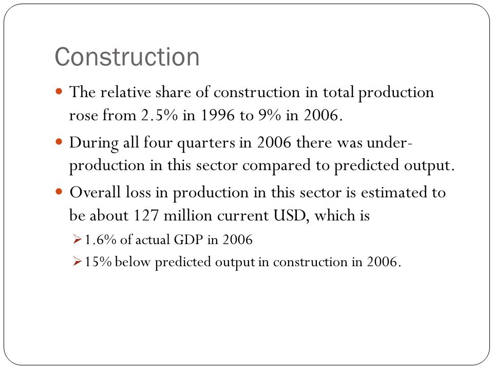 Construction The relative share of construction in total production rose from 2.5% in 1996 to 9% in 2006.