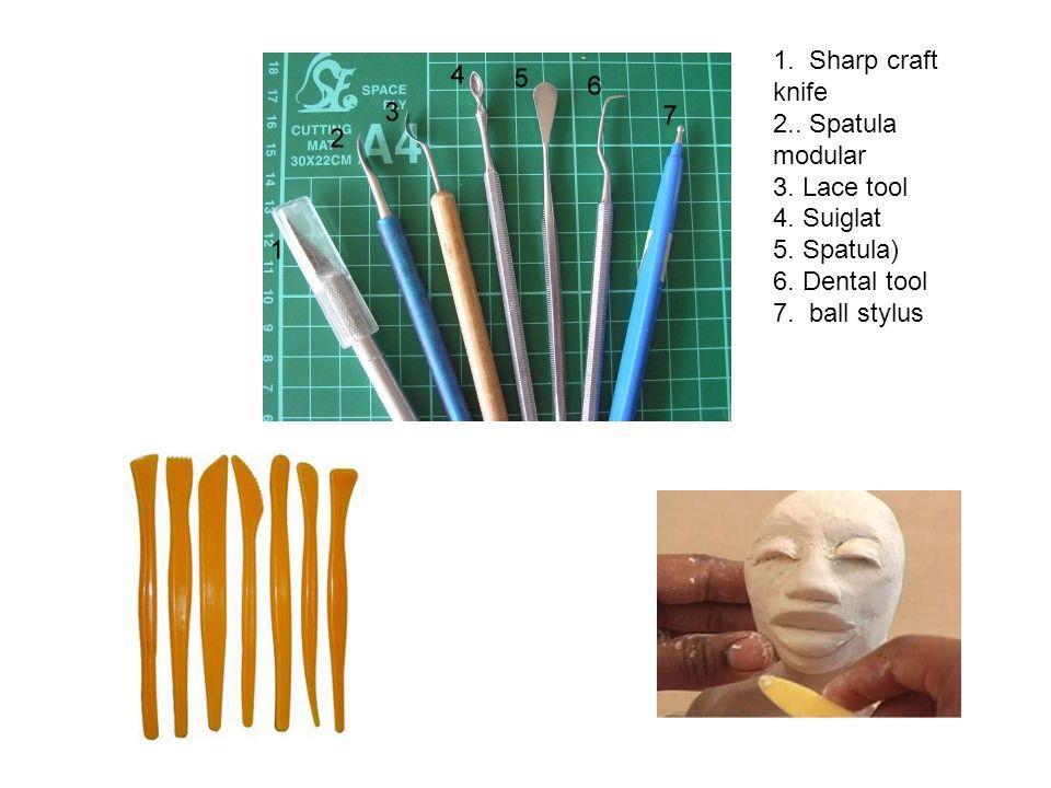 1. Sharp craft knife 2.. Spatula modular 3. Lace tool 4. Suiglat 5. Spatula) 6. Dental tool 7. ball stylus