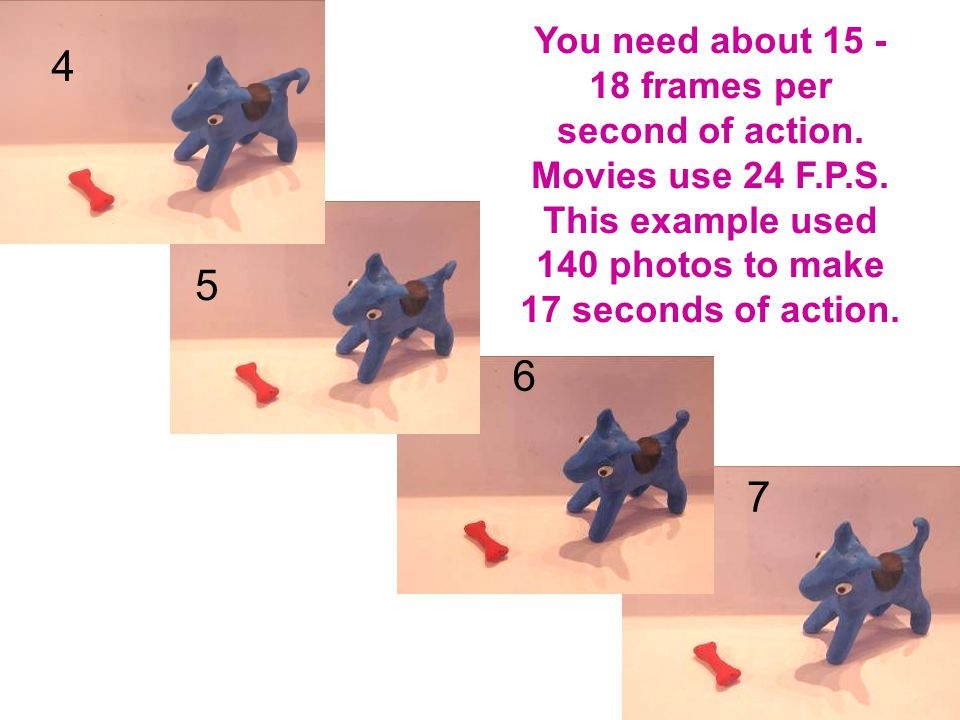 4 5 6 7 You need about 15 - 18 frames per second of action.