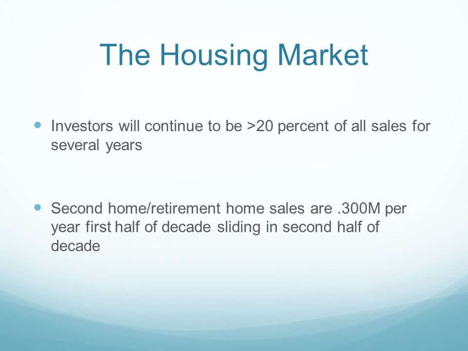 The Housing Market Investors will continue to be >20 percent of all sales for several years Second home/retirement home sales are.300M per year first