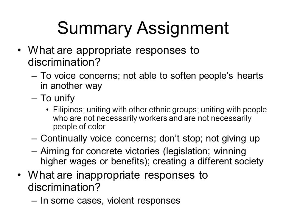Summary Assignment What are appropriate responses to discrimination.