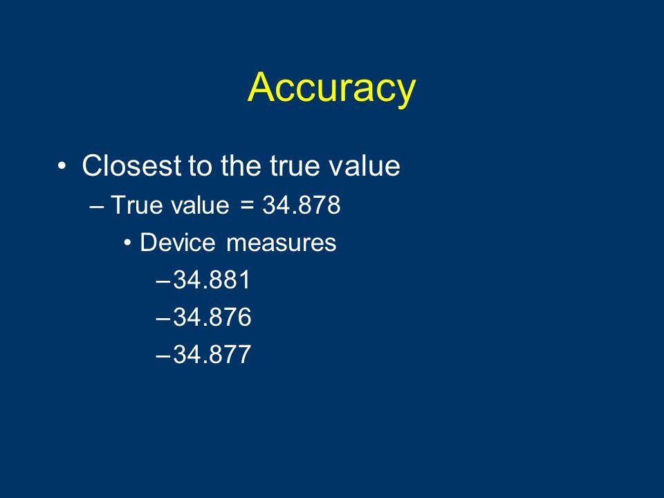 Precision Reproducibility of the measurement Little variability –True value = 34.878 Device measures – 35.001 – 35.002 – 35.000