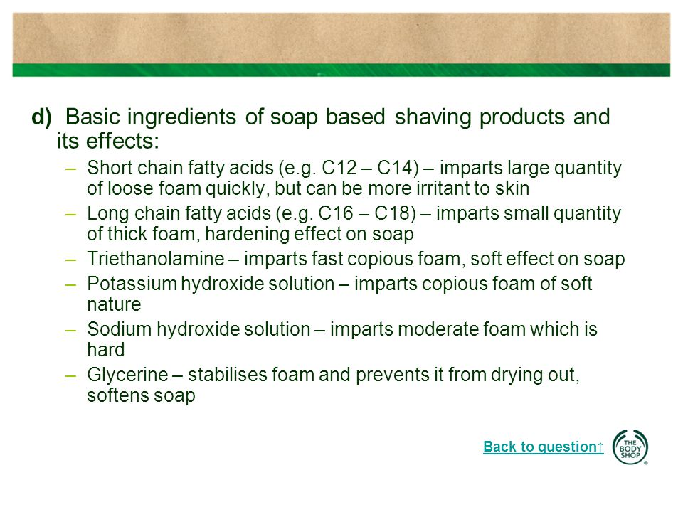 b) Raw Materials used for Cleansing dry skin.