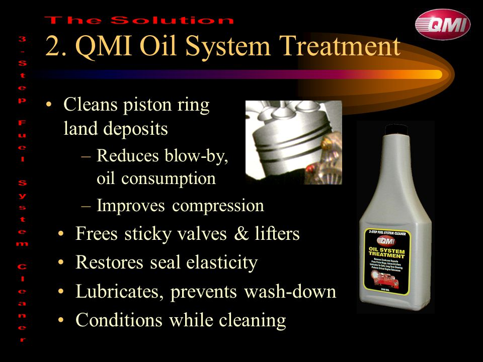 2. QMI Oil System Treatment Cleans piston ring land deposits –Reduces blow-by, oil consumption –Improves compression Frees sticky valves & lifters Res