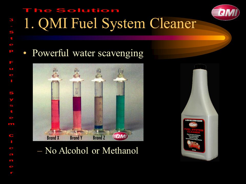 1. QMI Fuel System Cleaner Powerful water scavenging –No Alcohol or Methanol