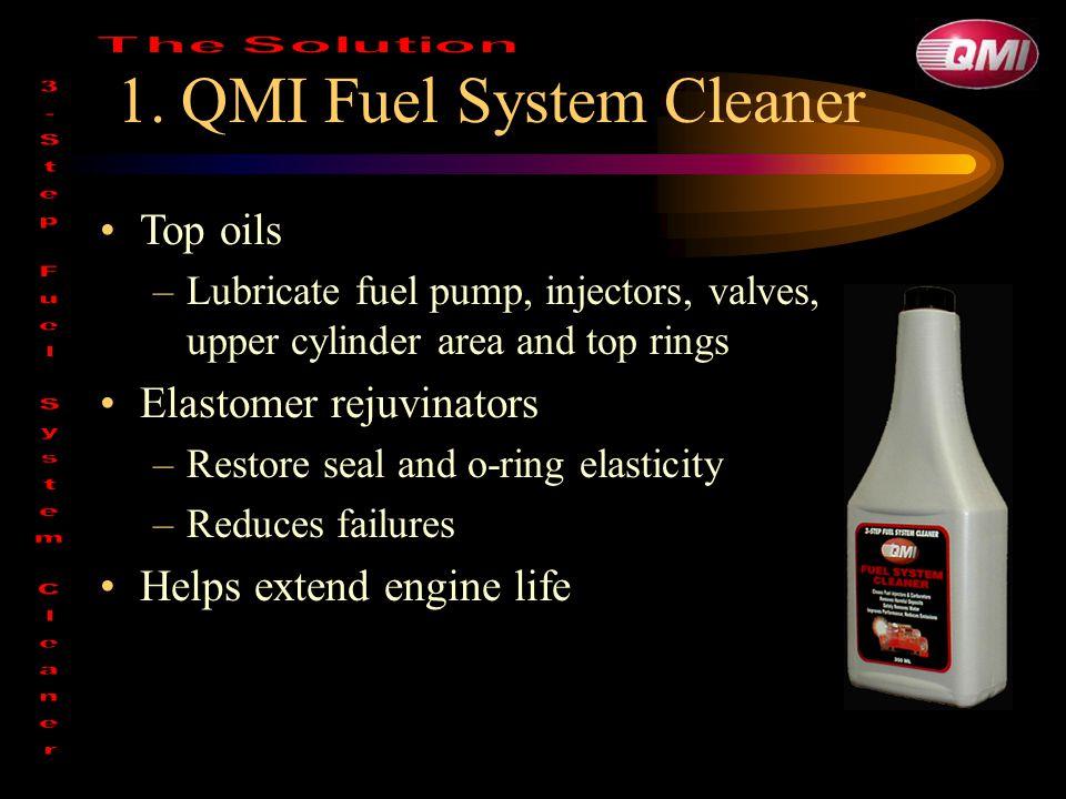 1. QMI Fuel System Cleaner Top oils –Lubricate fuel pump, injectors, valves, upper cylinder area and top rings Elastomer rejuvinators –Restore seal an