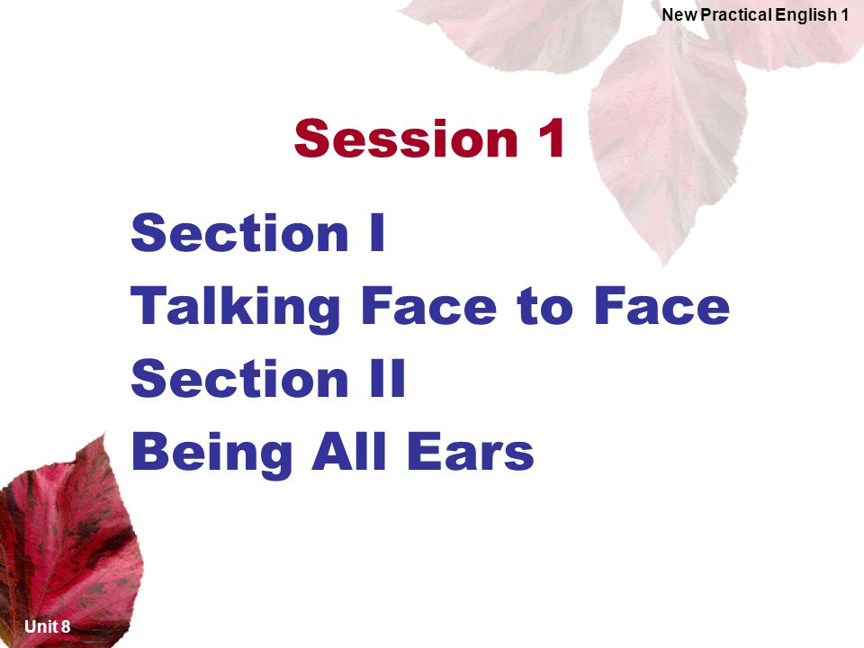 Unit 8 New Practical English 1 Section I Talking Face to Face Section II Being All Ears Session 1