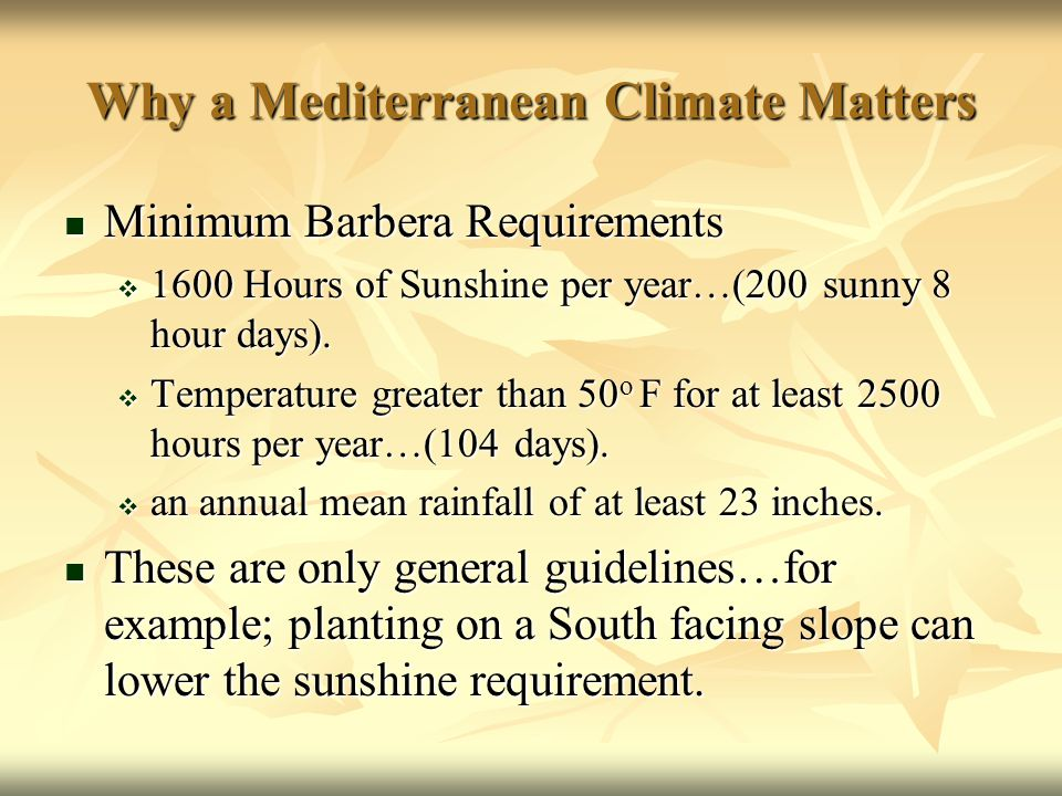Why a Mediterranean Climate Matters Minimum Barbera Requirements Minimum Barbera Requirements  1600 Hours of Sunshine per year…(200 sunny 8 hour days).