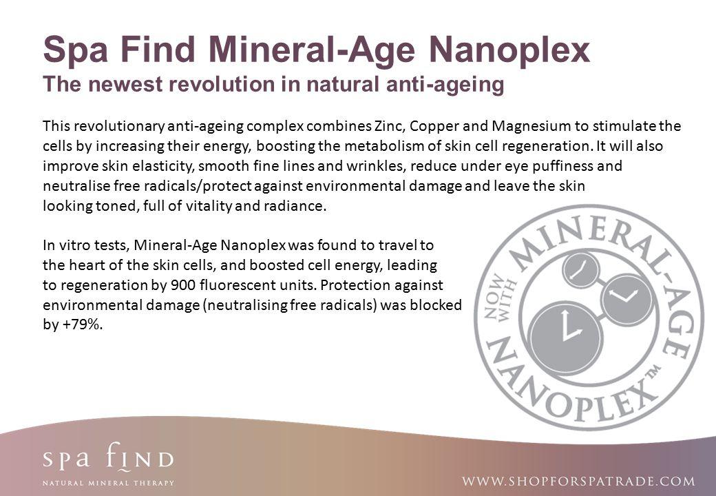 www.shopforspatrade.com Spa Find Mineral-Age Nanoplex The newest revolution in natural anti-ageing This revolutionary anti-ageing complex combines Zin