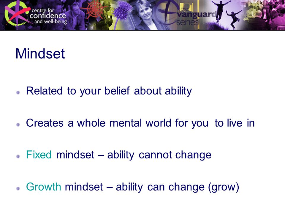 Mindset Related to your belief about ability Creates a whole mental world for you to live in Fixed mindset – ability cannot change Growth mindset – ability can change (grow)