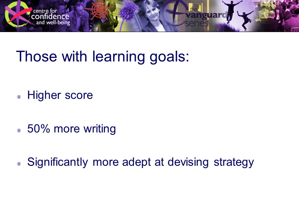 Those with learning goals: Higher score 50% more writing Significantly more adept at devising strategy