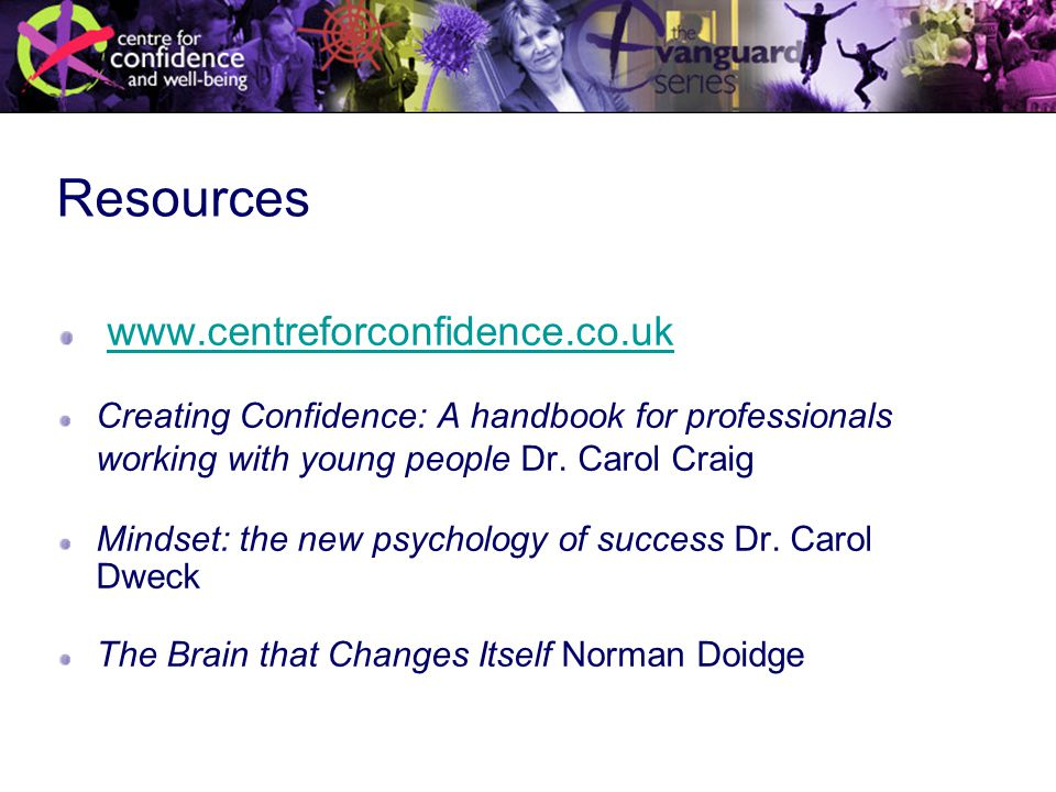 Resources www.centreforconfidence.co.uk Creating Confidence: A handbook for professionals working with young people Dr.