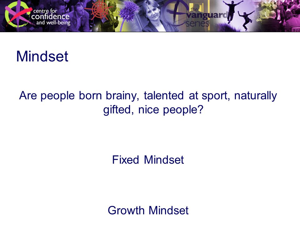 Mindset Are people born brainy, talented at sport, naturally gifted, nice people.