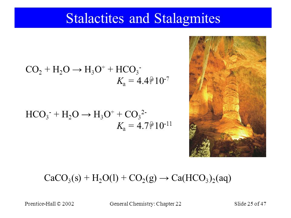 Prentice-Hall © 2002General Chemistry: Chapter 22Slide 25 of 47 Stalactites and Stalagmites CO 2 + H 2 O → H 3 O + + HCO 3 - K a = 4.4  10 -7 HCO 3 - + H 2 O → H 3 O + + CO 3 2- K a = 4.7  10 -11 CaCO 3 (s) + H 2 O(l) + CO 2 (g) → Ca(HCO 3 ) 2 (aq)