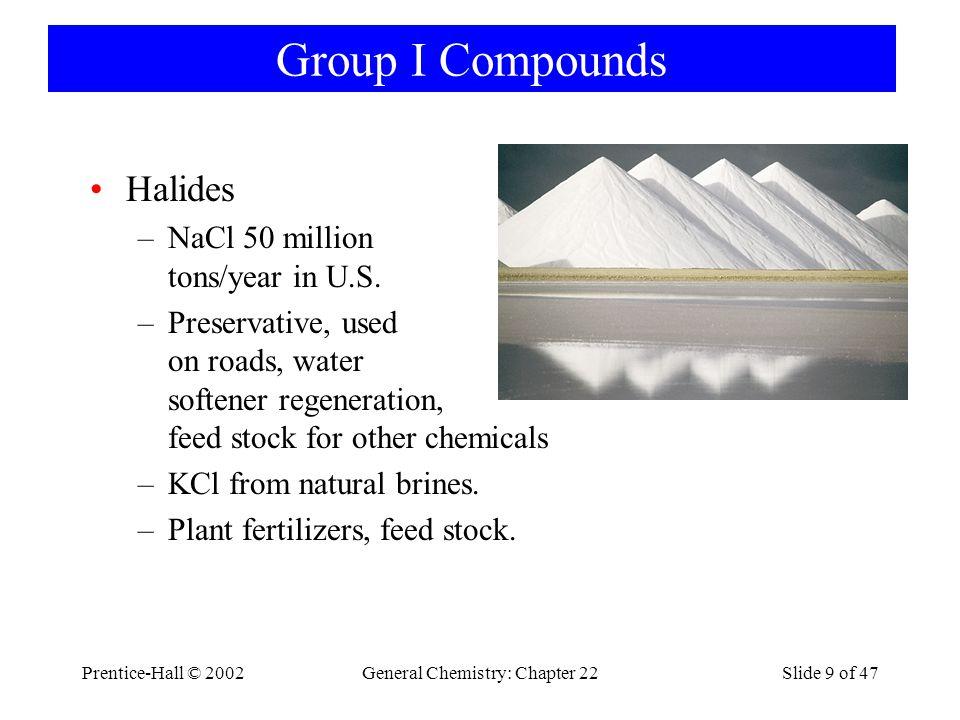 Prentice-Hall © 2002General Chemistry: Chapter 22Slide 20 of 47 Beryllium Unreactive toward air and water.