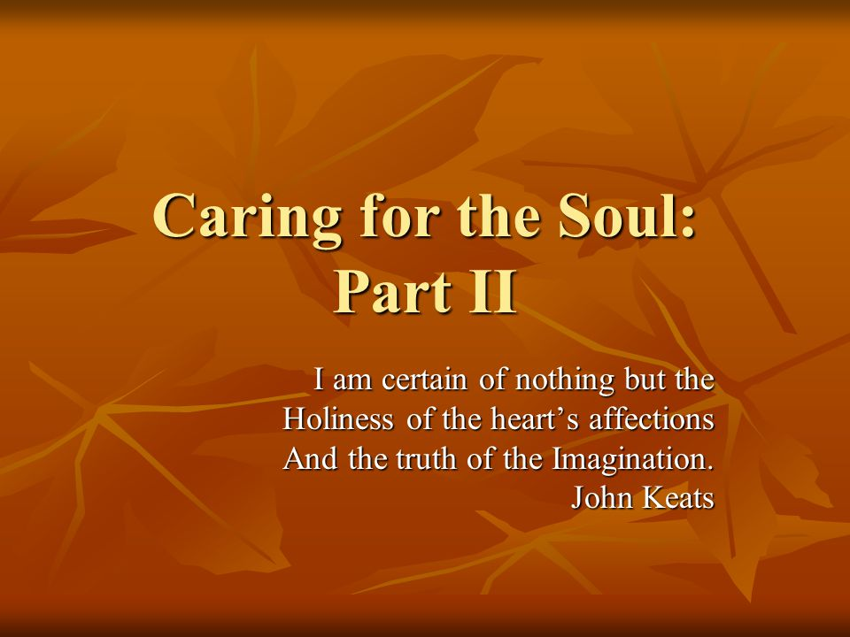 Caring for the Soul: Part II I am certain of nothing but the Holiness of the heart's affections And the truth of the Imagination.