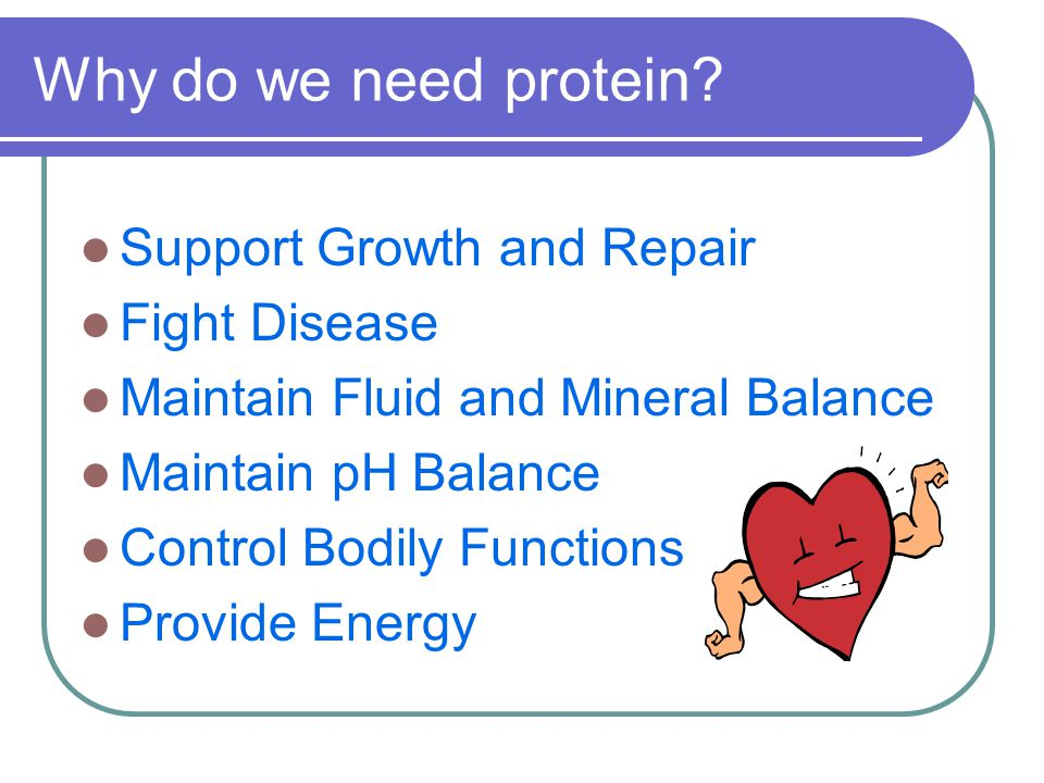 Why do we need protein? Support Growth and Repair Fight Disease Maintain Fluid and Mineral Balance Maintain pH Balance Control Bodily Functions Provid