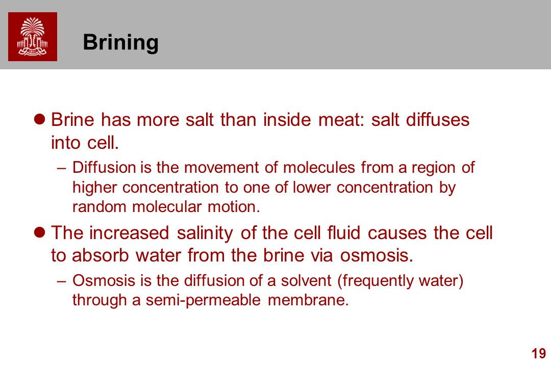 19 Brining Brine has more salt than inside meat: salt diffuses into cell. –Diffusion is the movement of molecules from a region of higher concentratio