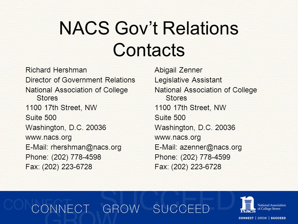 NACS Gov't Relations Contacts Richard Hershman Director of Government Relations National Association of College Stores 1100 17th Street, NW Suite 500 Washington, D.C.