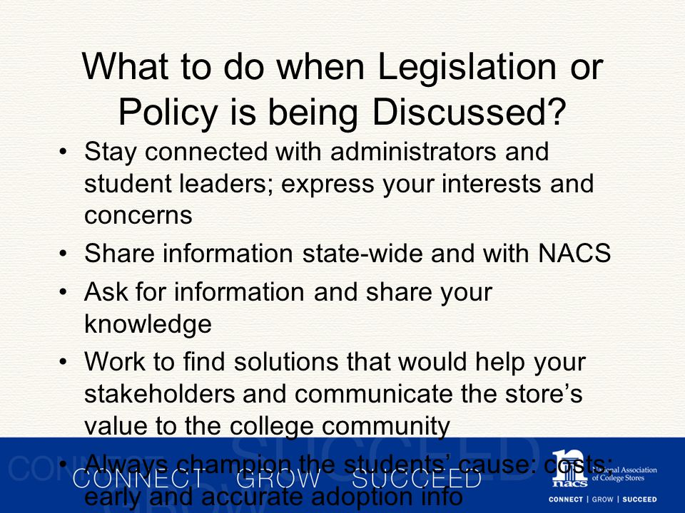 What to do when Legislation or Policy is being Discussed.