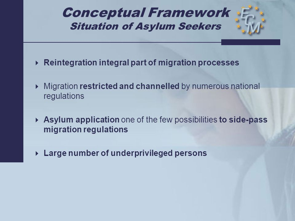 Conceptual Framework Decision to Return  Many refugees & migrants want to return to their country of origin  European Governments want to send back those who are not granted asylum  Decisions of the Ministries of Internal Affairs at times lack sufficient understanding of the problems  No European minimum standards for remigration