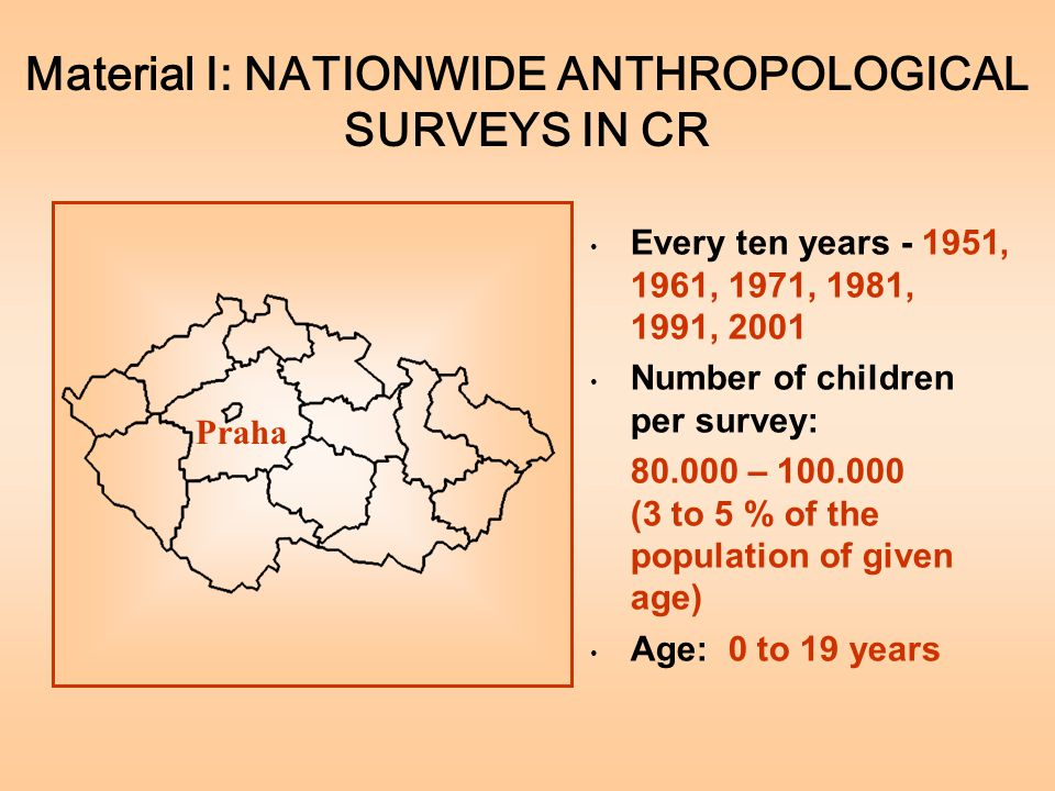 Material I: NATIONWIDE ANTHROPOLOGICAL SURVEYS IN CR Every ten years - 1951, 1961, 1971, 1981, 1991, 2001 Number of children per survey: 80.000 – 100.