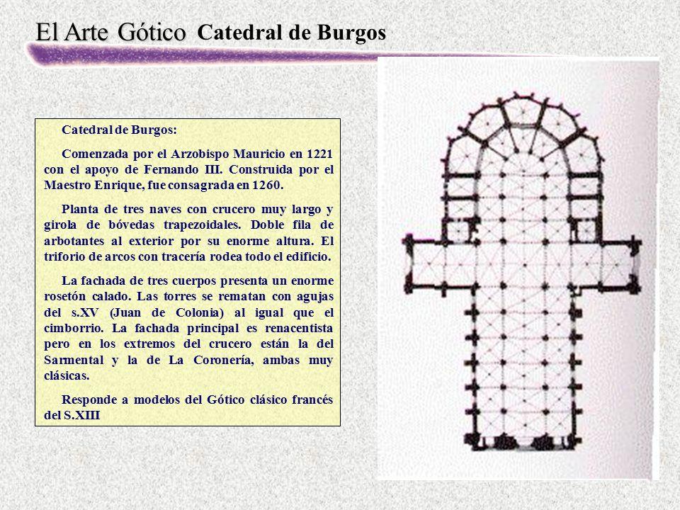 El Arte Gótico Catedral de Burgos Catedral de Burgos: Comenzada por el Arzobispo Mauricio en 1221 con el apoyo de Fernando III. Construida por el Maes
