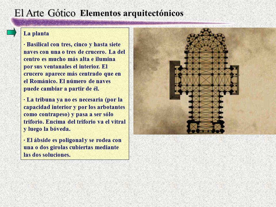 El Arte Gótico Elementos arquitectónicos La planta · Basilical con tres, cinco y hasta siete naves con una o tres de crucero. La del centro es mucho m