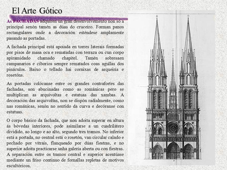 El Arte Gótico As FACHADAS adquiren un gran desenvolvemento non só a principal senón tamén as dúas do cruceiro. Forman panos rectangulares onde a deco