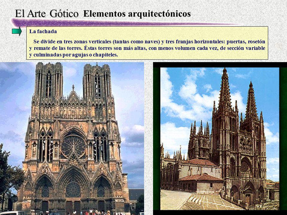 El Arte Gótico Elementos arquitectónicos La fachada Se divide en tres zonas verticales (tantas como naves) y tres franjas horizontales: puertas, roset