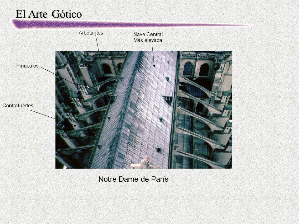 El Arte Gótico Notre Dame de París Nave Central Más elevada Arbotantes Contrafuertes Pináculos