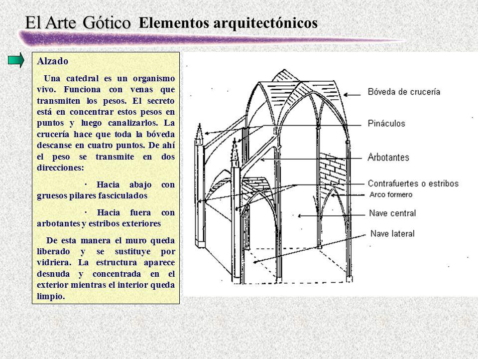 El Arte Gótico Elementos arquitectónicos Alzado Una catedral es un organismo vivo. Funciona con venas que transmiten los pesos. El secreto está en con
