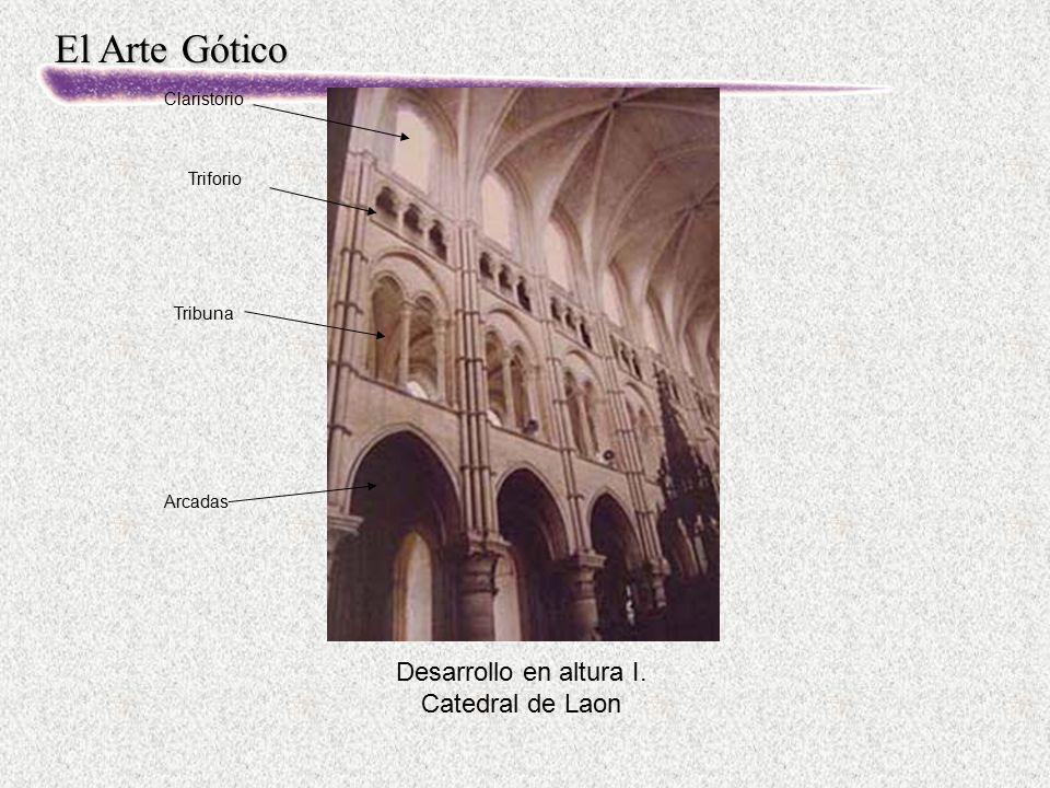 El Arte Gótico Desarrollo en altura I. Catedral de Laon Arcadas Tribuna Triforio Claristorio