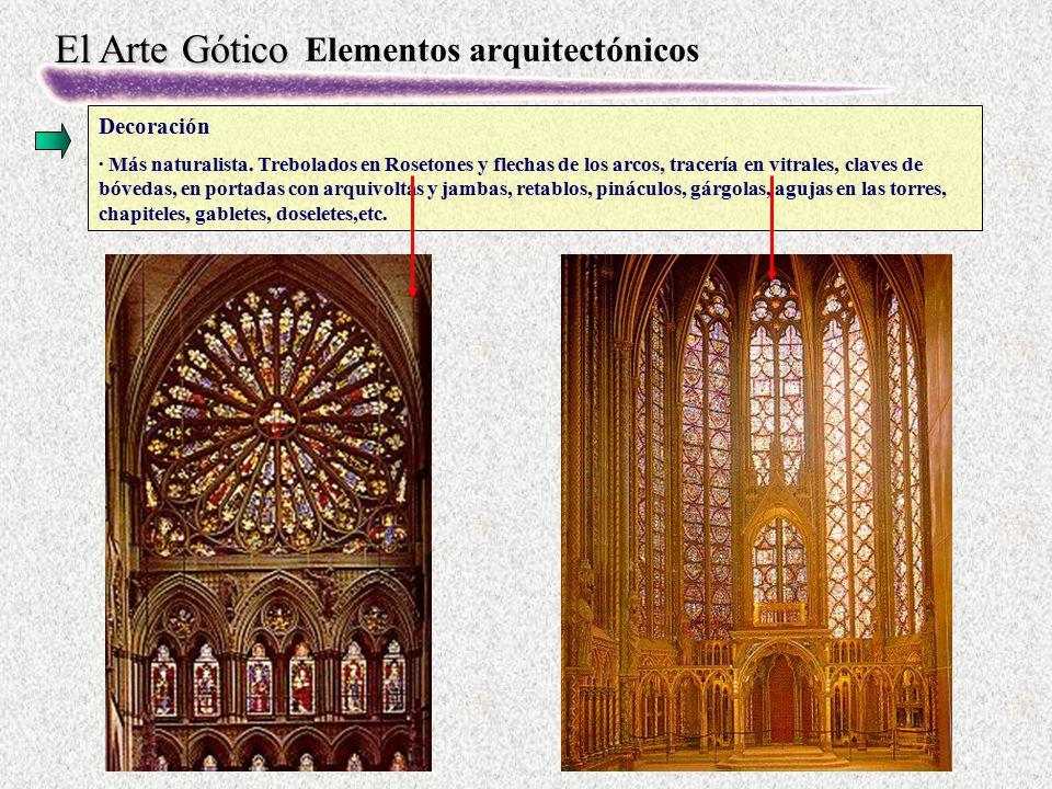El Arte Gótico Elementos arquitectónicos Decoración · Más naturalista. Trebolados en Rosetones y flechas de los arcos, tracería en vitrales, claves de