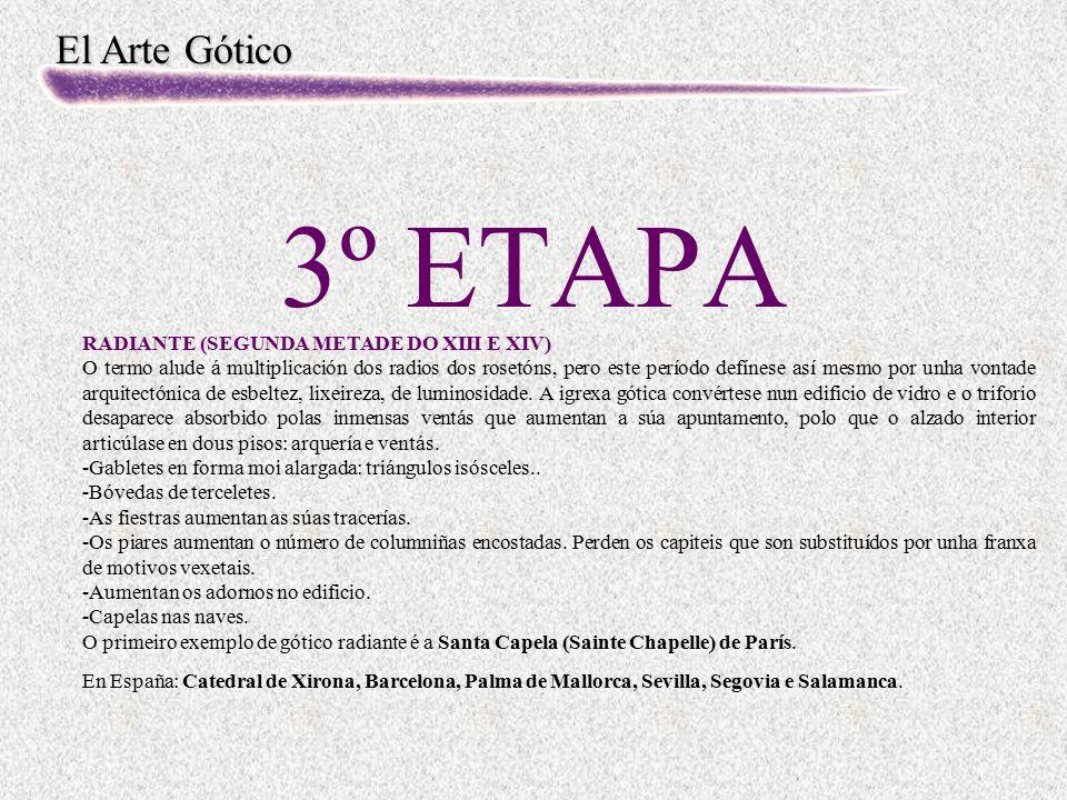 El Arte Gótico 3º ETAPA RADIANTE (SEGUNDA METADE DO XIII E XIV) O termo alude á multiplicación dos radios dos rosetóns, pero este período defínese así