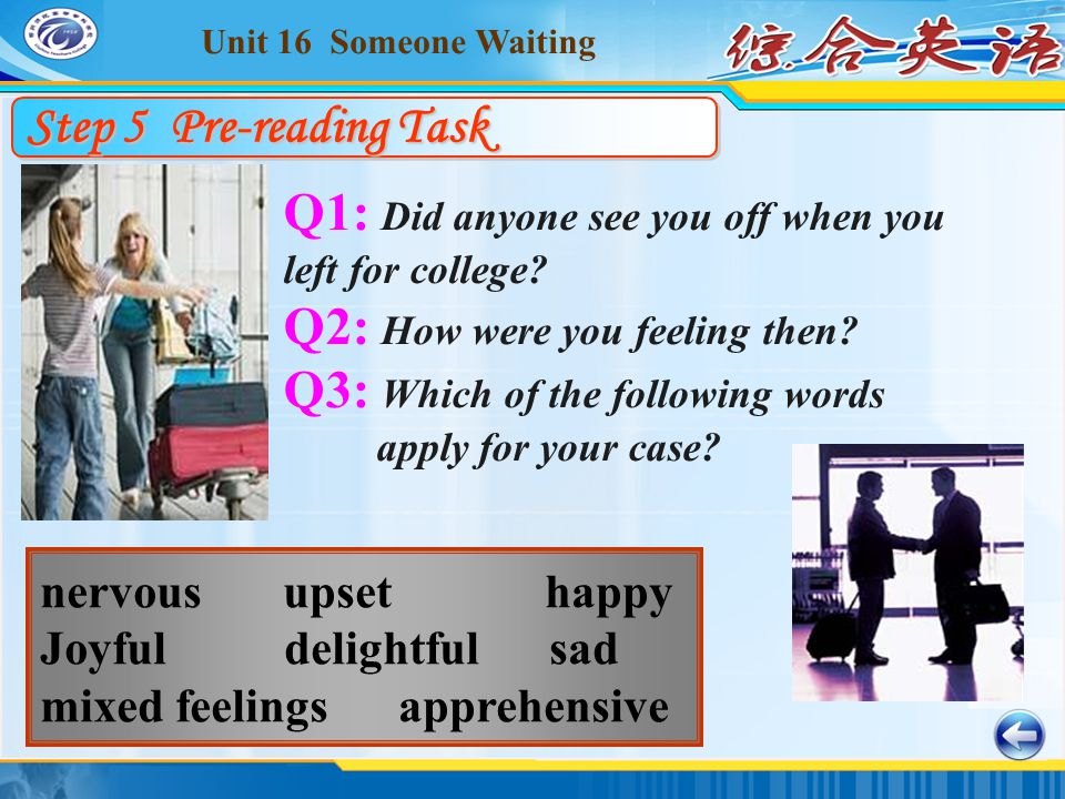 Unit 16 Someone Waiting nervous upset happy Joyful delightful sad mixed feelings apprehensive Step 5 Pre-reading Task Q1: Did anyone see you off when you left for college.