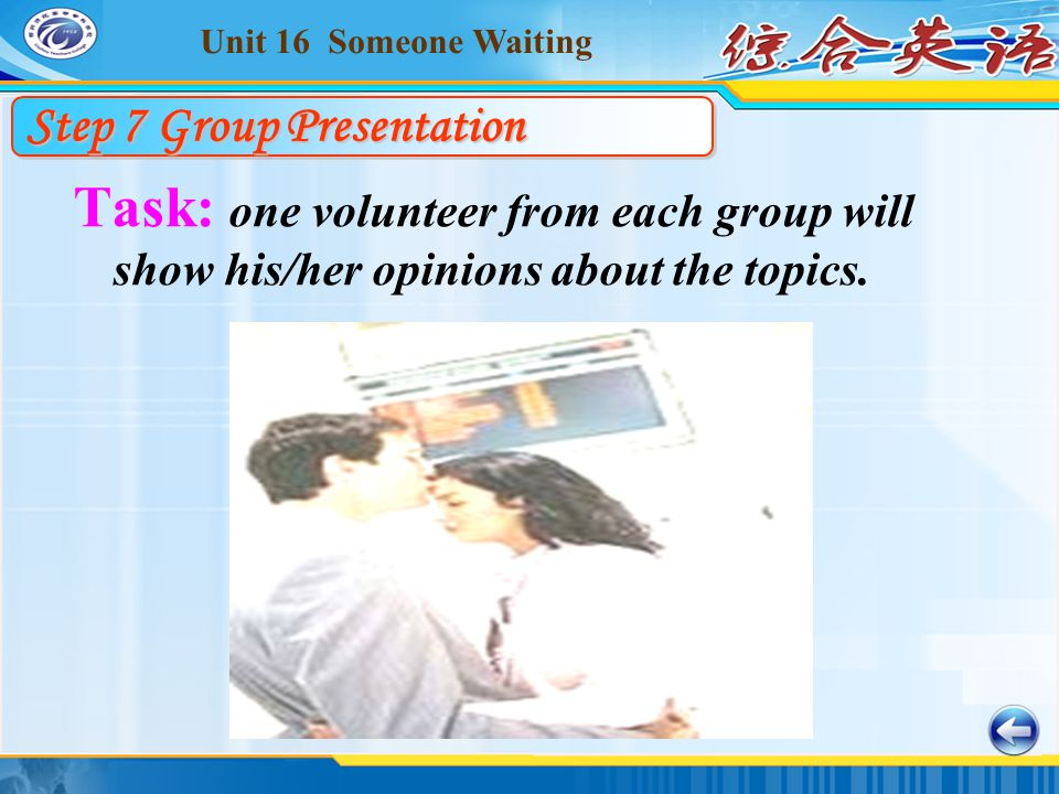 Unit 16 Someone Waiting Task: one volunteer from each group will show his/her opinions about the topics.