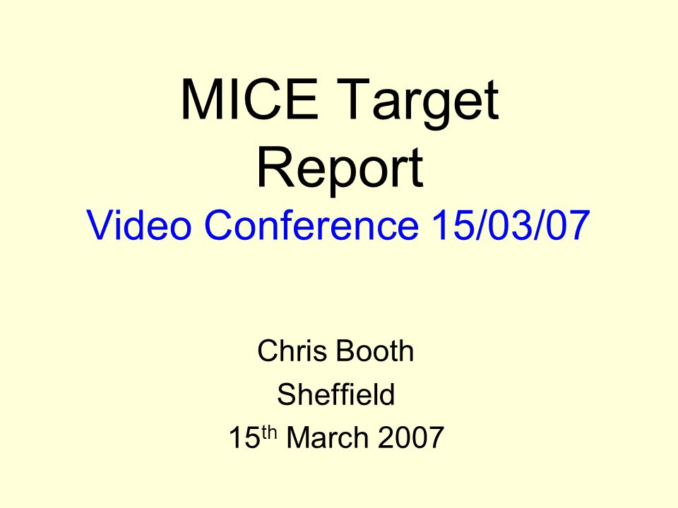 Chris BoothUniversity of Sheffield 2 Overview Serious concerns with present target control Proposal for upgrade Daresbury Review last Friday (9 th March) Conclusions and way forward Tasks and milestones to the autumn