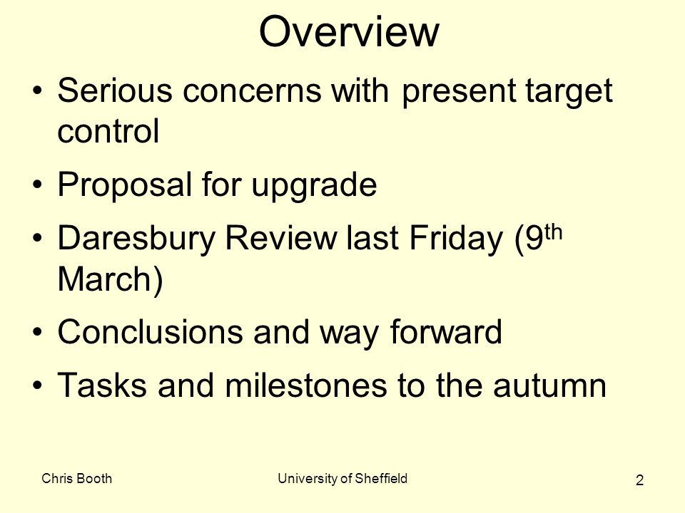 Chris BoothUniversity of Sheffield 2 Overview Serious concerns with present target control Proposal for upgrade Daresbury Review last Friday (9 th Mar