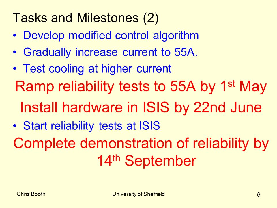 Chris BoothUniversity of Sheffield 6 Tasks and Milestones (2) Develop modified control algorithm Gradually increase current to 55A.