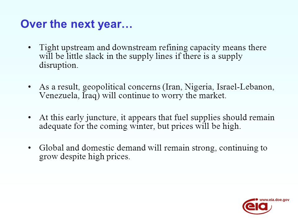 Over the next year… Tight upstream and downstream refining capacity means there will be little slack in the supply lines if there is a supply disruption.