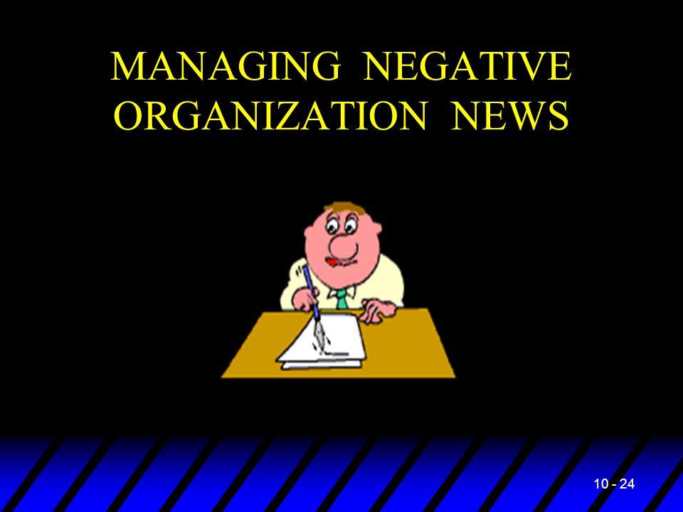 10 - 24 MANAGING NEGATIVE ORGANIZATION NEWS