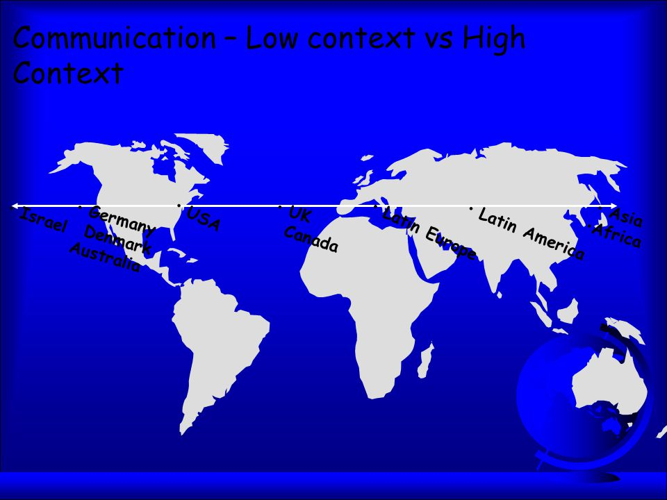 Communication – Low context vs High Context Israel Germany Denmark Australia USA UK Canada Latin Europe Latin America Asia Africa