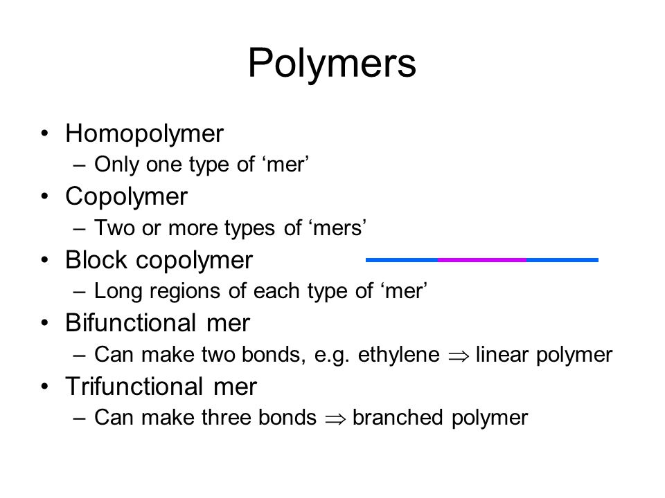 Polymers Linear Branched Cross-linked C CCC C C CC C C = C H H H H