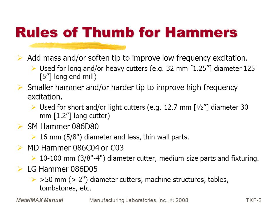 MetalMAX ManualManufacturing Laboratories, Inc., © 2008TXF-2 Rules of Thumb for Hammers  Add mass and/or soften tip to improve low frequency excitation.
