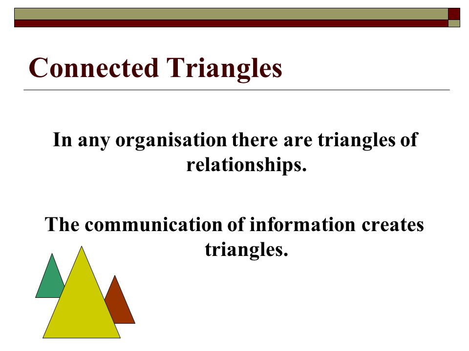 Connected Triangles In any organisation there are triangles of relationships. The communication of information creates triangles.