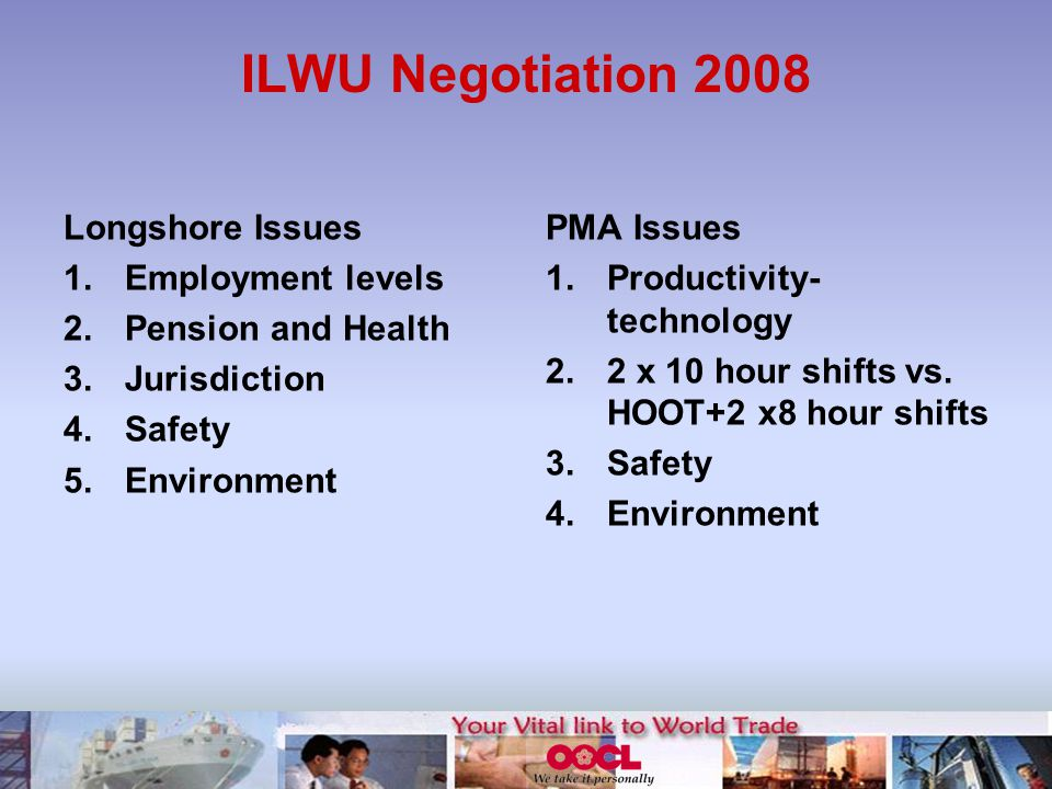 ILWU Negotiation 2008 Longshore Issues 1.Employment levels 2.Pension and Health 3.Jurisdiction 4.Safety 5.Environment PMA Issues 1.Productivity- technology 2.2 x 10 hour shifts vs.