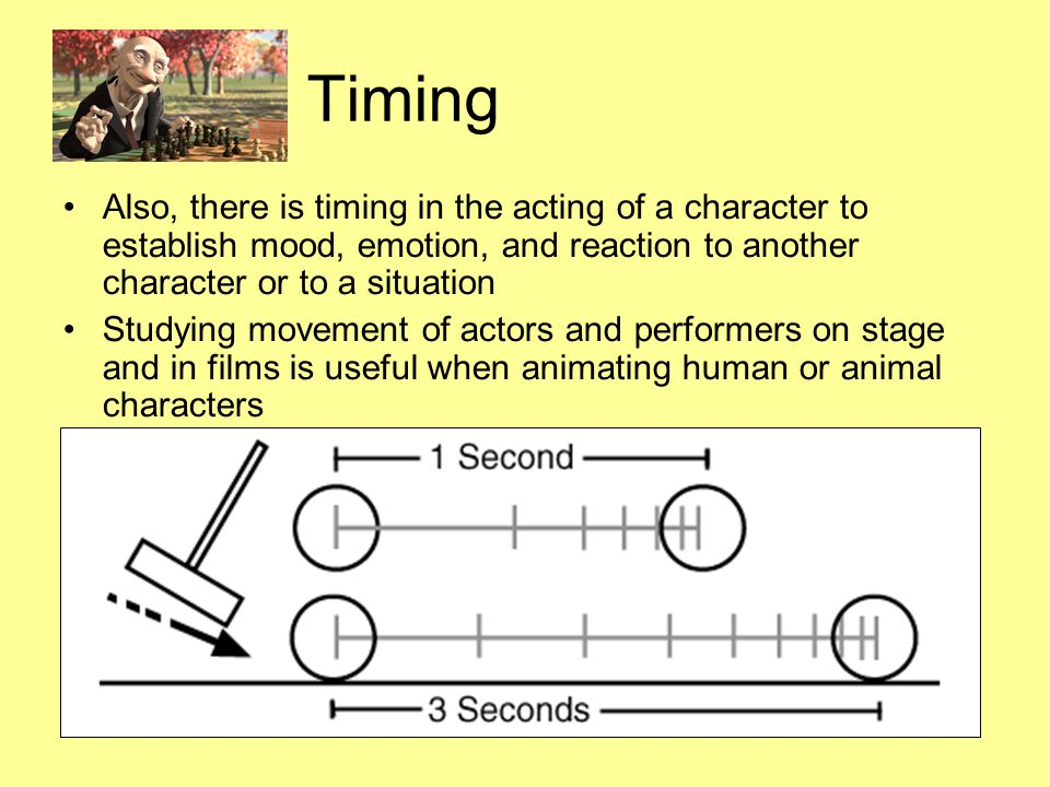 Timing Also, there is timing in the acting of a character to establish mood, emotion, and reaction to another character or to a situation Studying mov