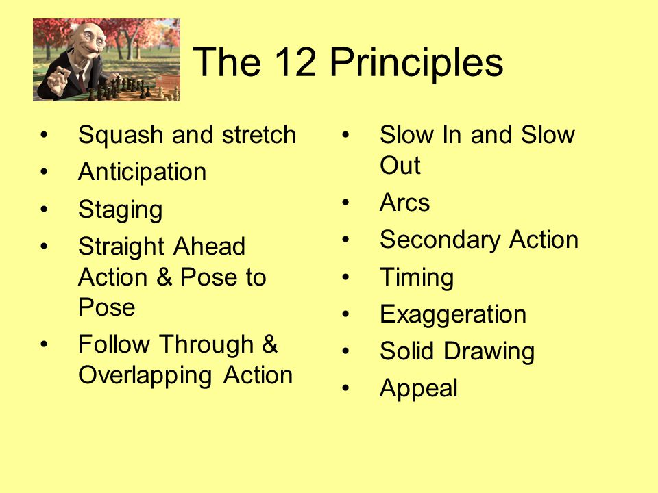 The 12 Principles Squash and stretch Anticipation Staging Straight Ahead Action & Pose to Pose Follow Through & Overlapping Action Slow In and Slow Ou